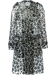 Moschino Cheap And Chic Animal Pattern Trench Coat Nude And Neutrals