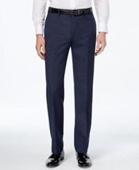 Calvin Klein Men's Slim Fit Blue Plaid Dress Pants