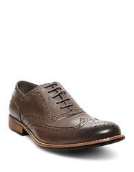 Steve Madden Gionni Leather Wingtip Oxfords Grey