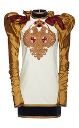 Dsquared2 Puff Sleeve Embroidered Velvet Dress Gold White Red