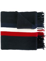 Moncler Striped Scarf Blue