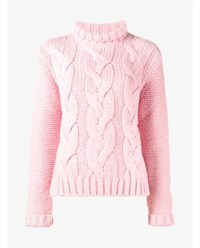 Ganni Cable Knit Brooks Polo Neck Pink Cotton Candy