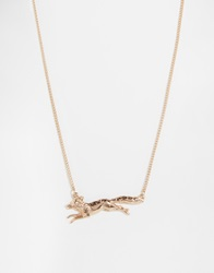 And Mary Necklace With Running Fox Charm Goldplate
