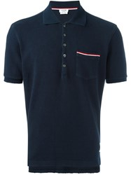 Thom Browne Short Sleeve Polo Shirt Blue