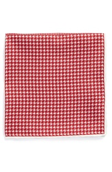 The Tie Bar Houndstooth Silk Pocket Square Online Only Red