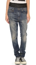R 13 Japanese Slouchy Skinny Jeans With Leather Vintage Painted Blue