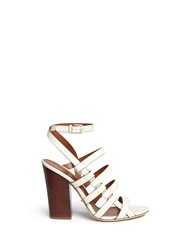 Sergio Rossi Chunky Heel Strappy Leather Sandals White