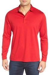 Bugatchi Men's Classic Fit Solid Polo Ruby