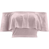 River Island Womens Pink Velvet Deep Frill Bardot Crop Top