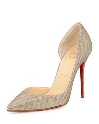 Christian Louboutin Iriza Half D'orsay Glitter Red Sole Pump Gold