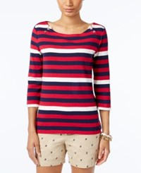 Tommy Hilfiger Ansley Boat Neck Top Persian Red Multi