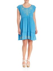 Johnny Was Plus Size Aoko Tiered Dress Blue