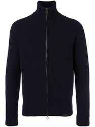 Boglioli Ribbed Zip Through Cardigan Blue