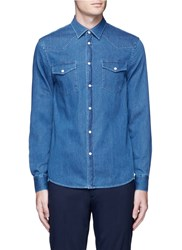 Acne Studios 'Ewing' Washed Cotton Denim Western Shirt Blue