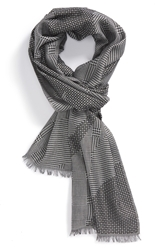 Alexander Mcqueen Patchwork Jacquard Wool And Silk Scarf Black White