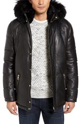 Nicole Benisti Men's Leather Down Jacket With Genuine Rabbit Fur Trim