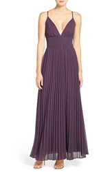 Lulus Women's Plunging V Neck Pleat Georgette Gown