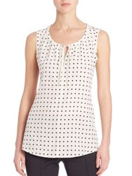 Akris Punto Sleeveless Silk Dot Blouse Cream Black