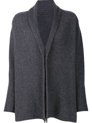 The Elder Statesman Ribbed Draped Cardigan Grey