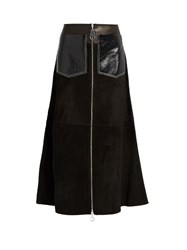 Edun Zip Through Suede Skirt Black