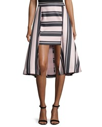 Halston Heritage Striped High Low Structured Skirt Size 10 Black Lts Strpe Prt Blk Lts Strpe Prt