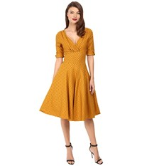 Unique Vintage 3 4 Sleeve Delores Swing Dress Mustard Black Dot Women's Dress Yellow