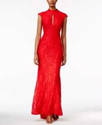 Betsy And Adam Cap Sleeve Lace Gown Red