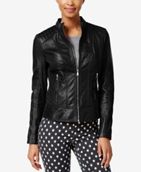 Guess Leather Bomber Jacket Black