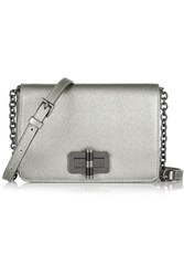 Diane Von Furstenberg 440 Gallery Bellini Metallic Textured Leather Shoulder Bag Silver