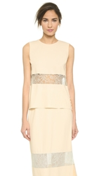 Wes Gordon Banded Lace Shell Cream