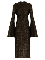 Ellery Gasp Ruched Bell Sleeved Dress Gold