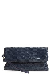 La Regale Foldover Metal Mesh Clutch Blue Navy