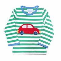 Toby Tiger Car T Shirt White Red Green