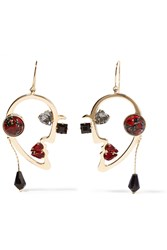 Etro Gold Plated Multistone Earrings Gold Red