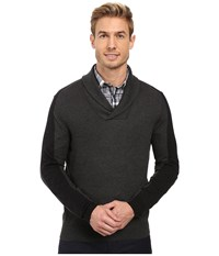 Perry Ellis Color Block Shawl Collar Pullover Charcoal Heather Men's Clothing Gray