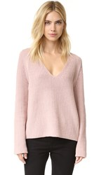 Helmut Lang V Neck Cash Wool Sweater Dust