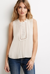 Forever 21 Embroidered High Neck Top Beige