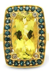 Olivia Leone 18K Yellow Gold Plated Sterling Silver Genuine Lemon Quartz London Blue Topaz And Zircon Ring