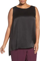 Eileen Fisher Plus Size Women's Hammered Silk Satin High Low Shell Black