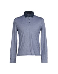 Kangra Cashmere Topwear Polo Shirts Men Dark Blue