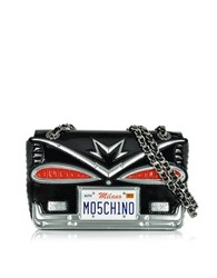Moschino Couture Milano Black Eco Patent Leather Crossbody Bag