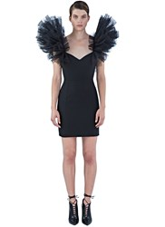 Saint Laurent Ruffled Tulle Shoulder Mini Dress Black
