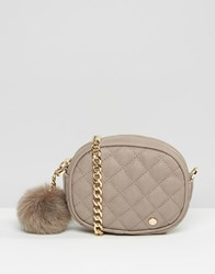 Dune Quilted Micro Bag With Pom In Grey Grey