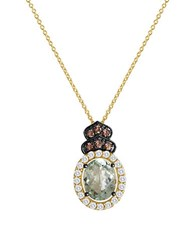 Le Vian Green Amethyst Vanilla Topaz And Chocolate Quartz 14K Vanilla Gold Necklace Yellow Gold