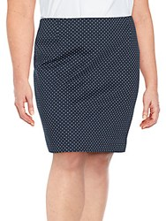 Akris Punto Polka Dotted Bodycon Skirt Navy Cream