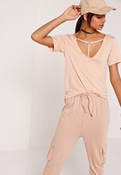 Missguided T Bar Harness Front T Shirt Nude Beige
