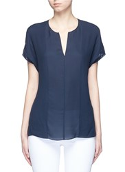 Vince Pintuck Stitch Silk Split Neck Blouse Blue