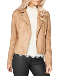Miss Selfridge Long Sleeve Leather Moto Jacket Brown