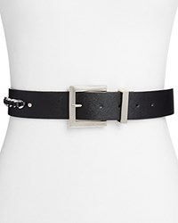 Ivanka Trump Chain Detail Saffiano Belt Black Nickel