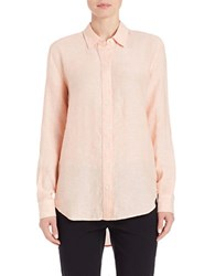 Lord And Taylor Linen Hi Low Casual Shirt Peach Fuzz